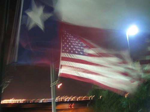 Texas & American flags