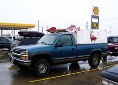 chevrolet(1.0), automobile(1.0), automotive exterior(1.0), pickup truck(1.0), vehicle(1.0), truck(1.0), chevrolet silverado(1.0), bumper(1.0), land vehicle(1.0), motor vehicle(1.0),