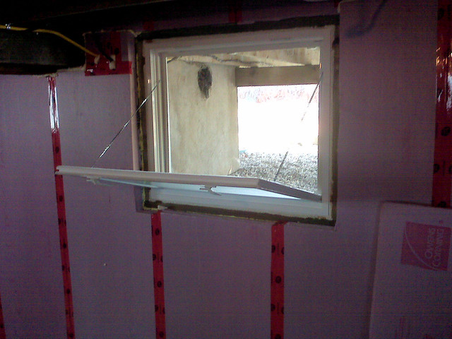 new egress window should one require to flee the basement