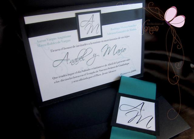 Black White and Turquoise Wedding Invitation