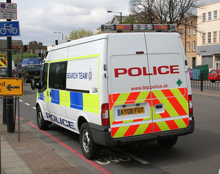 British Transport Police Search Team vehicle at Mile End Underground station