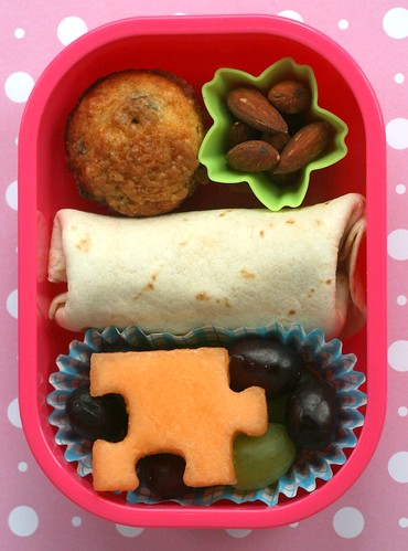 burrito bento with melon puzzle piece :)