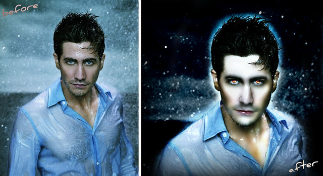 Jake Gyllenhaal -before & after twilight. i fixed his nose.