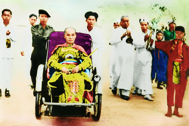 Caodaist Pope Pham Cong Tac in the papal tricycle