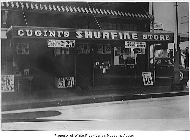 Cugini's Shurfine Store, exterior, Auburn, ca. 1945