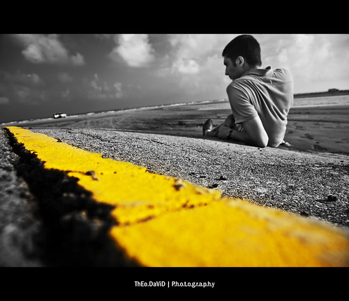 On the Yellow road - self portrait