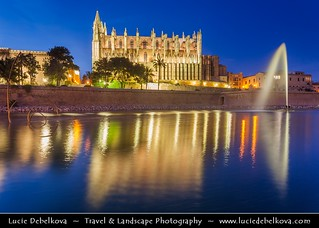 Spain - Mallorca - Cathedral in Palma de Mallorca at Dusk - Twilight - Night - Blue Hour