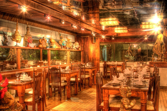 Singha thai restaurant interior had the camera with me