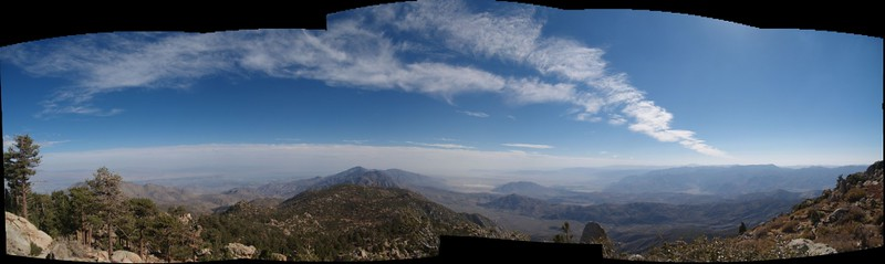South-facing multi-photo panorama from below the summit of Toro Peak
