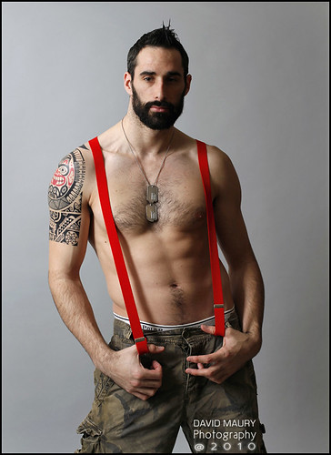 Dillon's red suspenders/braces