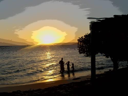 beach playa paisaje niños jamaica padre lanscape