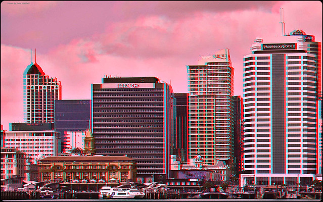 Ferry Basin, Auckland [anaglyph]