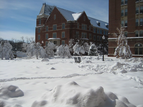 The Southwest Quad is blanketed in snow