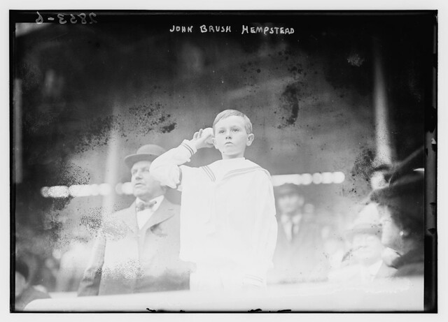 [John Brush Hempstead, son of the New York Giants president Harry Hempstead and grandson of the late John T. Brush (former president of the New York Giants), throws out first pitch of Game One of the 1913 World Series at the Polo Grounds, New York (baseba