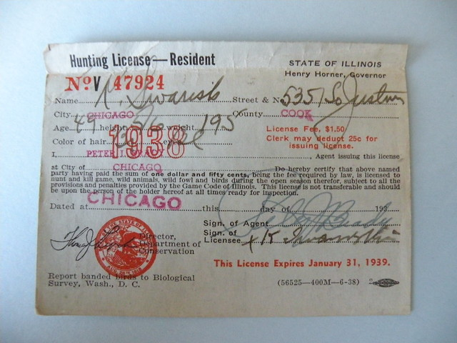 Kostanty gust iwanski 39 s 1938 illinois hunting license for Fishing license illinois