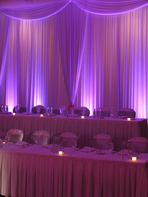 Backdrop and uplighting at a Chicago wedding wwwmdmentertainmentcom