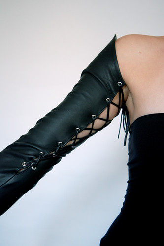 Black leather driving gloves - Pointed Laces Upshoulder Long Leather Gloves Flickr Photo Sharing