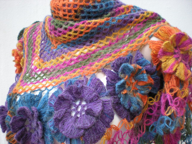 Hand Crochet : crochet hand crocheted violet colorful shawl Flickr - Photo Sharing!
