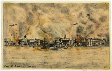 Fall Singapore Pictures on Fall Of Singapore Feb 1942 Sketch By Armament Staff Sergeant E Kelly A