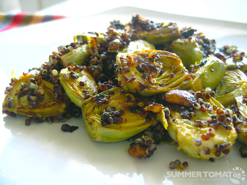 Pan Roasted Artichokes With Pistachios And Black Quinoa