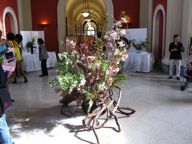 Ikebana flower arrangement in the Rotunda for Sakura Matsuri 2010.