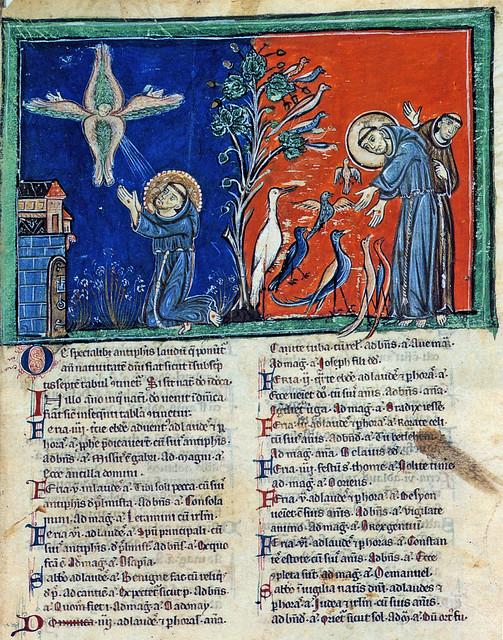 Le stimmate di san Francesco e La predica agli uccelli, XIII sec., antifonario, ms B 87, f. 78r. Roma, Biblioteca Vaticana