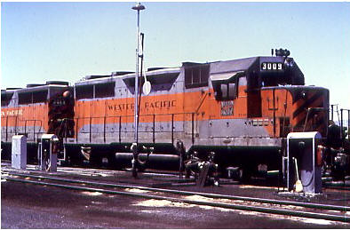 Western Pacific # 3009 at Stockton California in 1974. by Eddie from Chicago