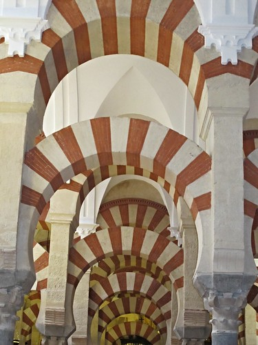 Colorful arches in the Mosque-Cathedral, Cordoba
