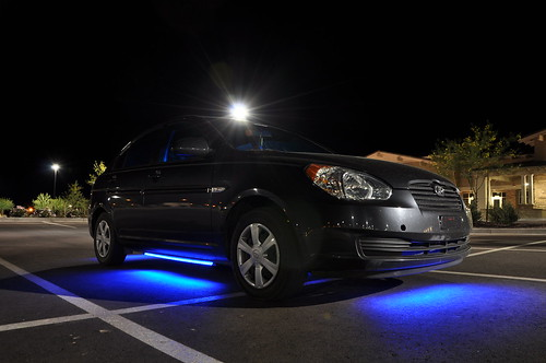light car wheel night glow view under front led transportation hyundai vechile