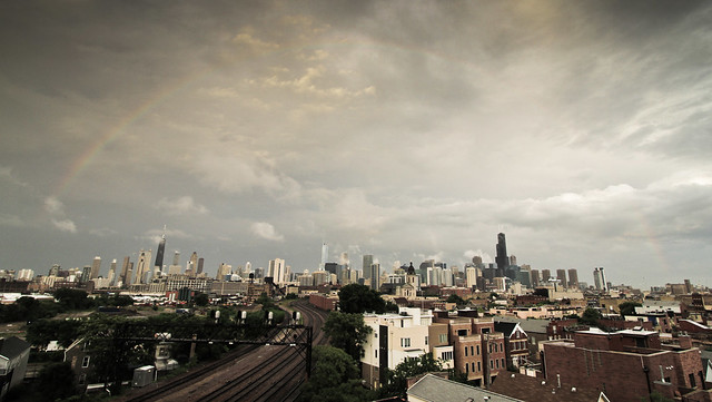 What was left of a perfect rainbow over the Chicago skyline