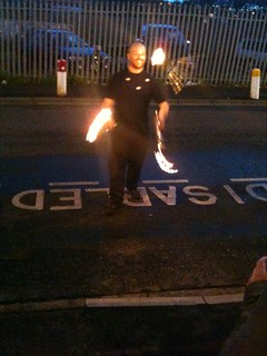 Fire juggling kept the crowds entertained at Mushroom Works
