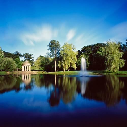 park longexposure blue sky reflection green water clouds temple pond f45 hasselblad hoya larzanderson carlzeiss 38mm biogon nd400 swcm