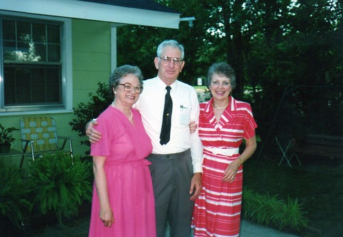 Mama, Uncle Wilton, and Aunt Delaine in Mama's back yard.