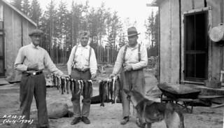 Fish caught by a fishing party to supplement camp rations, Relief Project No. 13, Kowkash, Ontario / Poissons capturés par un groupe de pêcheurs afin de compléter les rations du camp, projet d'aide à l'emploi no 13, Kowkash (Ontario)a034769