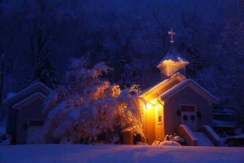 West Virginia Country Church Morning Snow Storm