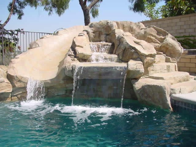 Swimming Pool Rock Waterfall And Slide Flickr Photo