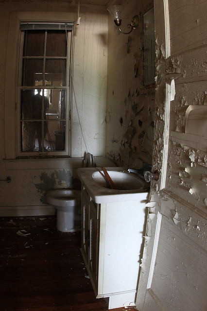 Abandoned bathroom. Note the ghost with the tripod in the ...