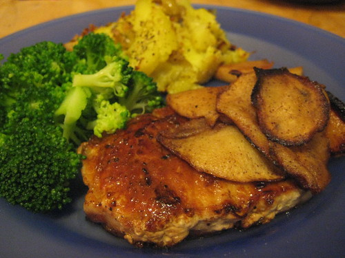 [27/365] Pork loin chop with caramelized apples