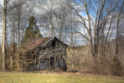trees sky clouds nc log cabin northcarolina maiden hdr delapidated catawbacounty davidhopkinsphotography
