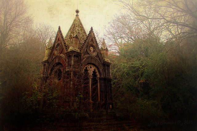 An ancient grave in the misty forest (Mausoleo del Marchese Edoardo Cahen a Torre Alfina VT)