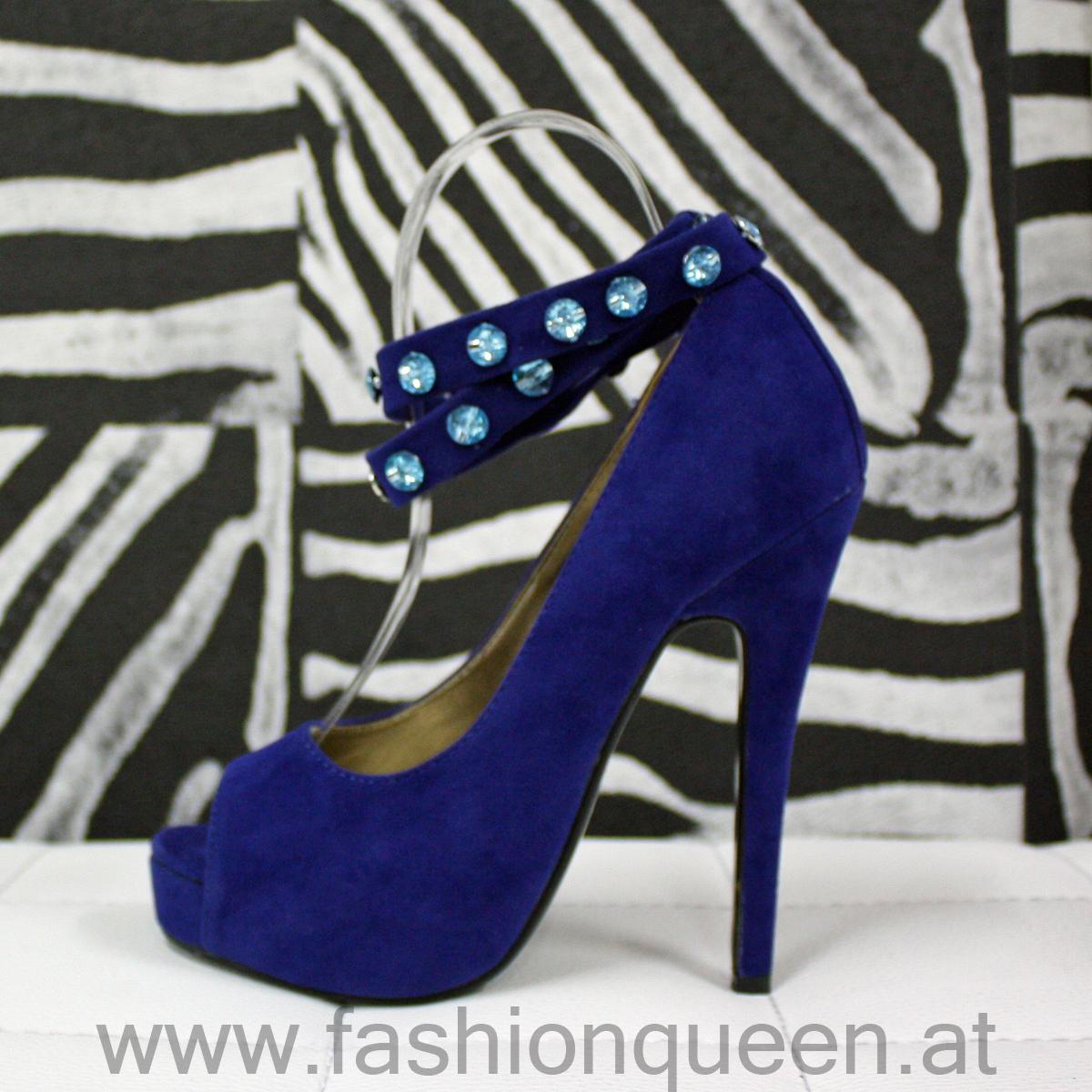 edle peep toe high heels plateau blau diamanten neu 35 ebay. Black Bedroom Furniture Sets. Home Design Ideas