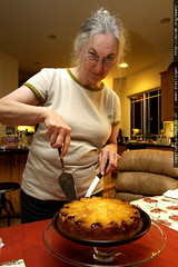 anna plating her fresh pineapple upside down cake