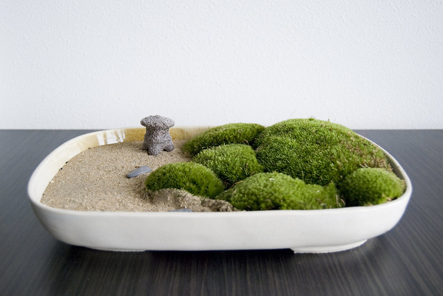 Zen garden with moss and a Japanese latern Flickr
