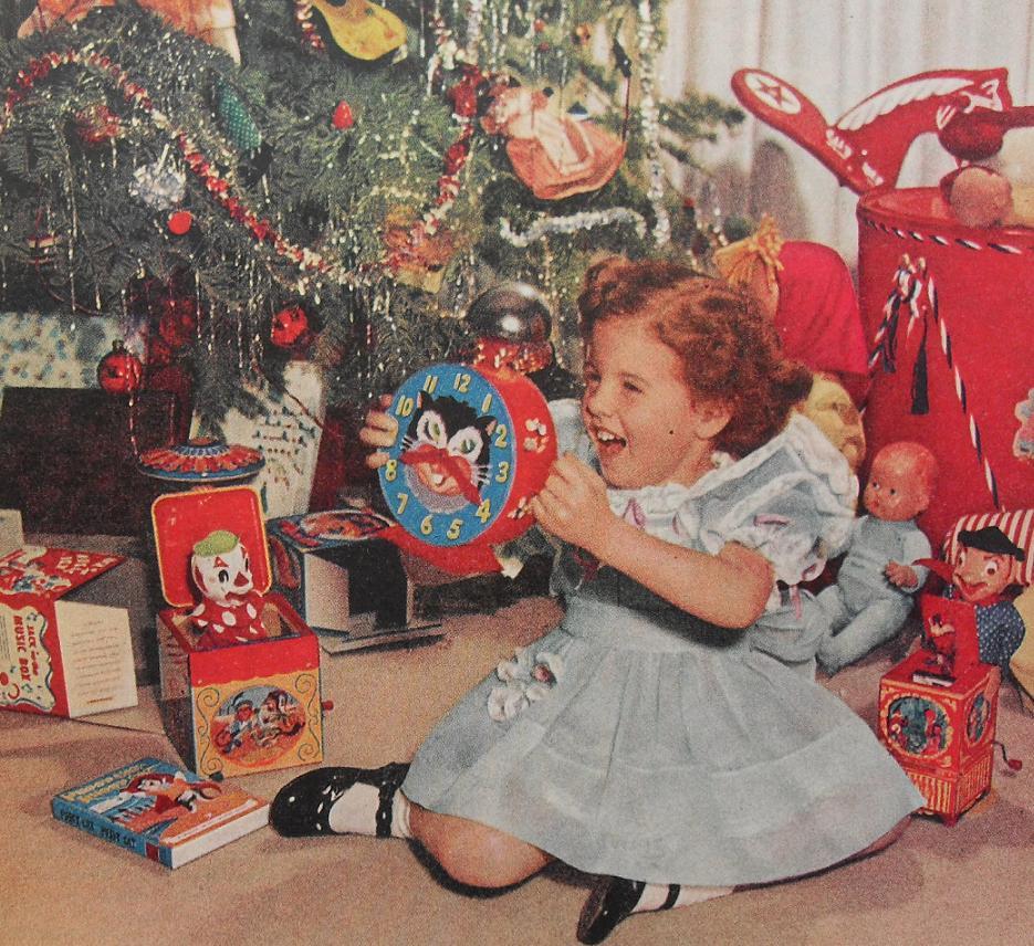 1950s Christmas Morning Girl Kiddie Clock Toys Vintage