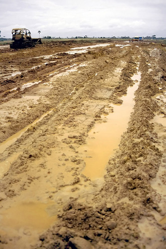 Mud and tractor at Amazonian road