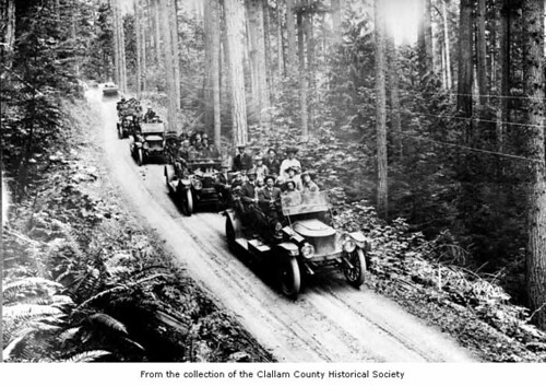 Fleet of Stanlet Steamers carrying passengers, probably in Clallam County, ca. 1912