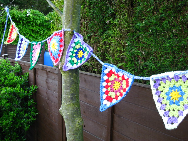 Colourful crochet bunting