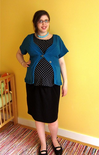 Teal Flutter-Sleeve Cardigan remix (37 weeks pregnant)