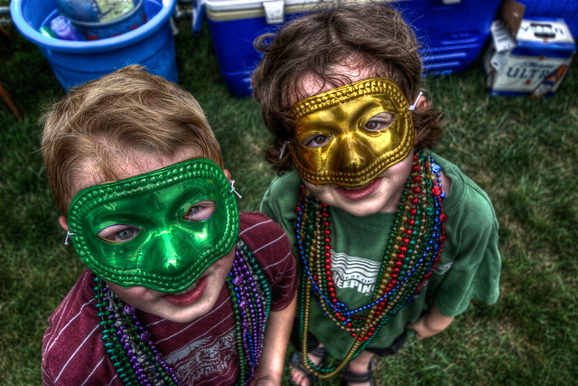 Mardi Gras Colorful Masks, Kids wearing Green and Golden Yellow Color Mask