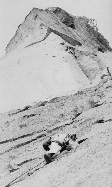 Leading the first pitch of West Face Variation, 1978